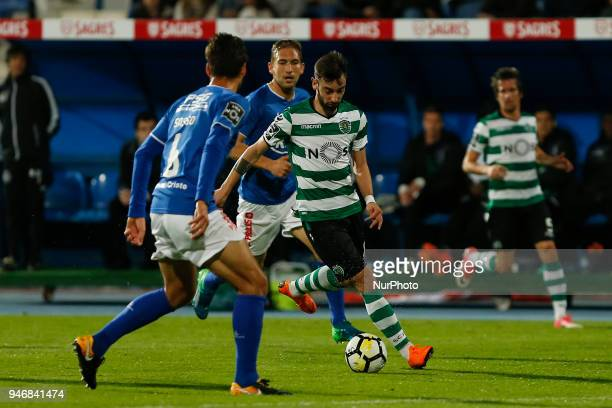 Sporting CP Midfielder Bruno Fernandes from Portugal during the Premier League 2017/18 match between CF Os Belenenses v Sporting CP at Estadio do...