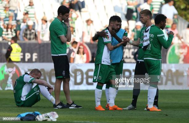 Sporting CP midfielder Bruno Fernandes from Portugal emotional reaction at the end of the Portuguese Cup Final match between Sporting CP and CD Aves...