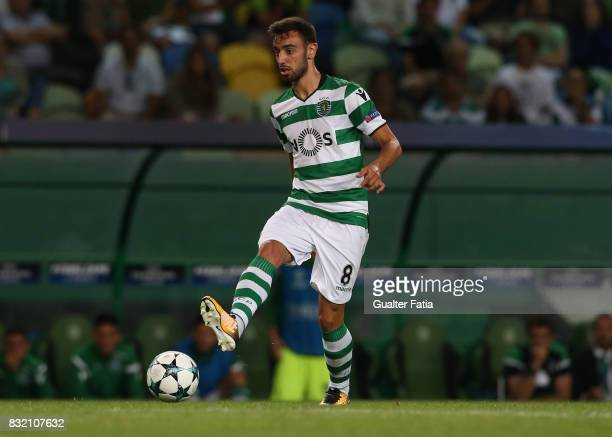 Sporting CP midfielder Bruno Fernandes from Portugal in action during the UEFA Champions League Qualifying PlayOffs Round First Leg match between...