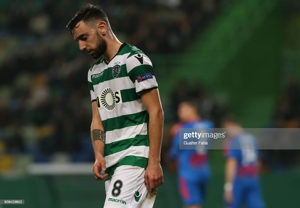 Sporting CP midfielder Bruno Fernandes from Portugal reaction after missing a goal opportunity during the UEFA Europa League Round of 16 First Leg match between Sporting CP and FC Viktoria Plzen at Estadio Jose Alvalade on March 8, 2018 in Lisbon, Portugal.
