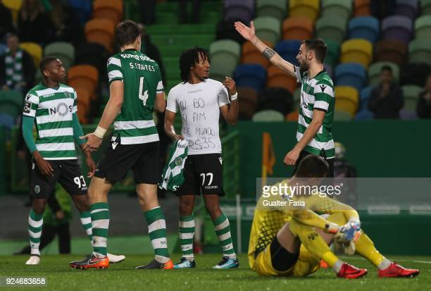 Sporting CP midfielder Bruno Fernandes from Portugal reaction to teammate Sporting CP forward Gelson Martins from Portugal receiving a red card...