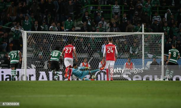Sporting CP midfielder Bruno Fernandes from Portugal scores goal from the penalty spot during the Primeira Liga match between Sporting CP and SC...