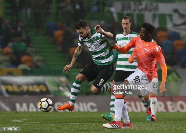 Sporting CP midfielder Bruno Fernandes from Portugal with Moreirense FC midfielder Alfa Semedo from Guinea Bissau in action during the Primeira Liga...