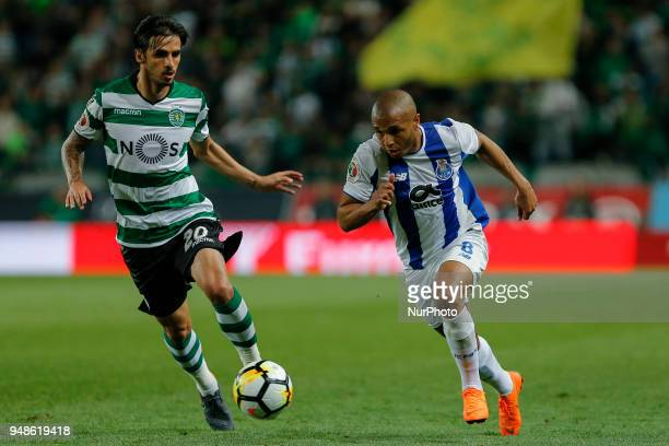 Sporting CP Midfielder Bryan Ruiz from Costa Rica and FC Porto Forward Yacine Brahimi from Algeria during the Sporting CP v FC Porto Portuguese Cup...