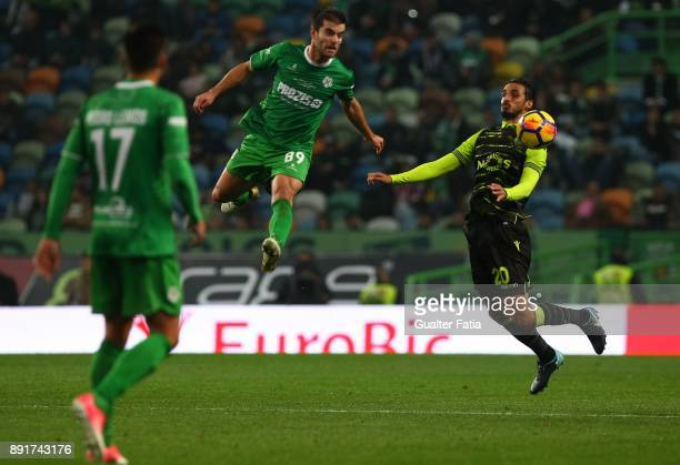 Sporting CP midfielder Bryan Ruiz from Costa Rica with Vilaverdense FC forward Jose Pedro in action during the Portuguese Cup match between Sporting...