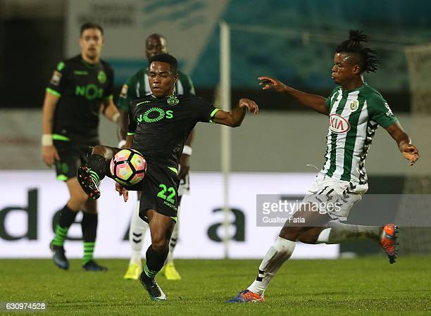 Sporting CP midfielder Elias from Brazil with Vitoria de Setubal midfielder Mikel Agu in action during Portuguese League Cup match between Vitoria...