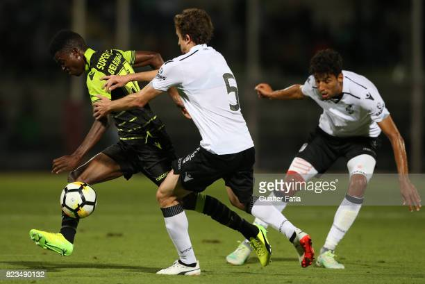 Sporting CP midfielder Gelson Dala from Angola with Vitoria Guimaraes midfielder Rafael Miranda from Brazil and Vitoria Guimaraes defender Marcos...