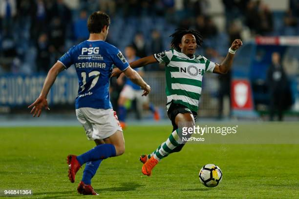 Sporting CP Midfielder Gelson Martins from Portugal and CF Os Belenenses Defender Bruno Pereirinha from Portugal during the Premier League 2017/18...