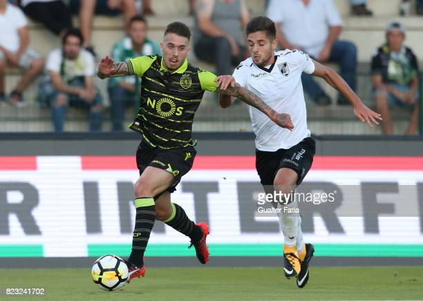 Sporting CP midfielder Iuri Medeiros from Portugal with Vitoria Guimaraes forward Joao Vigario from Portugal in action during PreSeason Friendly...
