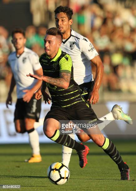 Sporting CP midfielder Iuri Medeiros from Portugal with Vitoria Guimaraes defender Marcos Valente from Portugal in action during PreSeason Friendly...