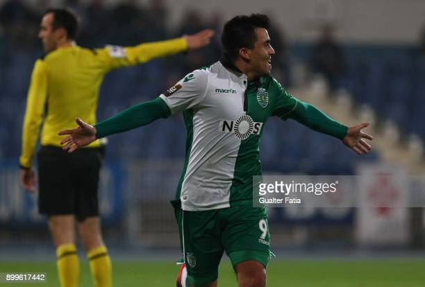 Sporting CP midfielder Marcos Acuna from Argentina celebrates after scoring a goal during the Portuguese League Cup match between CF Os Belenenses...