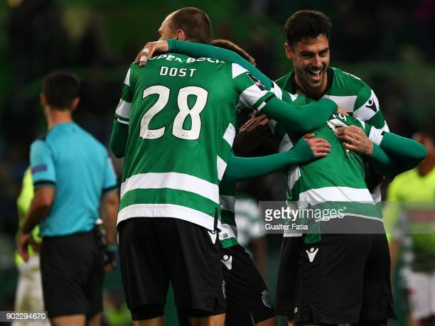 Sporting CP midfielder Marcos Acuna from Argentina celebrates with teammates after scoring a goal during the Primeira Liga match between Sporting CP...