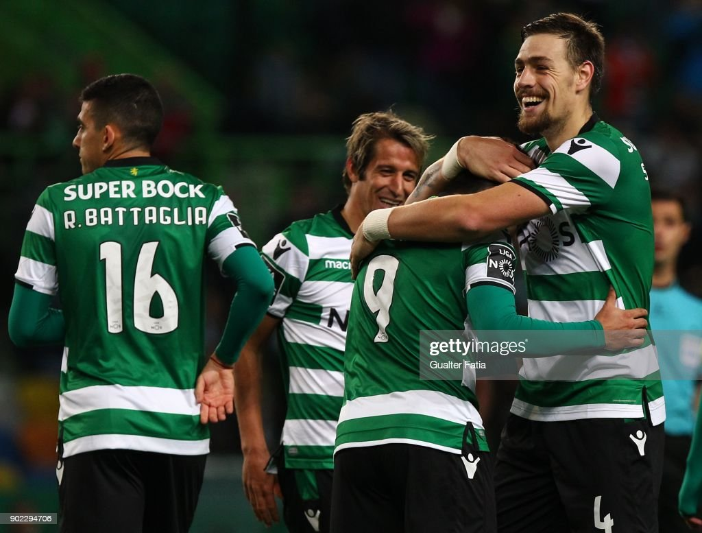 Sporting CP midfielder Marcos Acuna from Argentina celebrates with teammates after scoring a goal during the Primeira Liga match between Sporting CP and CS Maritimo at Estadio Jose Alvalade on January 7, 2018 in Lisbon, Portugal.