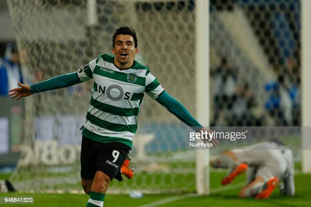 Sporting CP Midfielder Marcos Acuna from Argentina celebrating after scoring a goal during the Premier League 2017/18 match between CF Os Belenenses...
