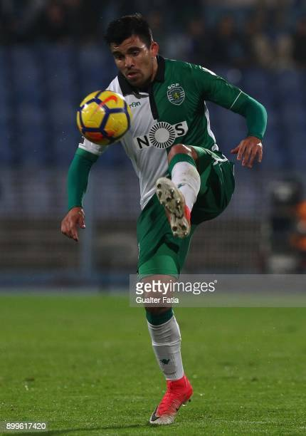 Sporting CP midfielder Marcos Acuna from Argentina in action during the Portuguese League Cup match between CF Os Belenenses and Sporting CP at...