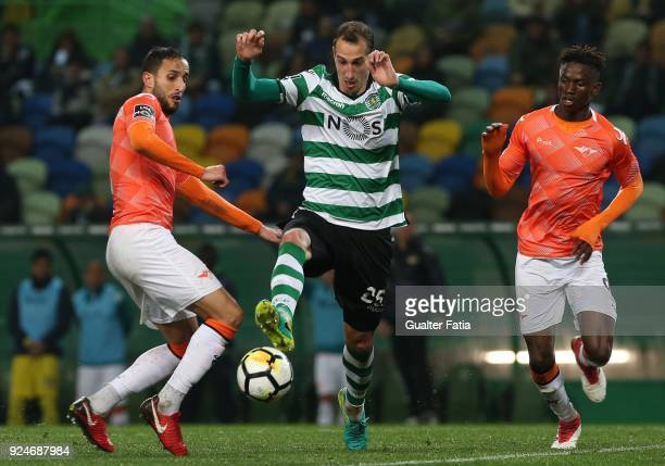 Sporting CP midfielder Radosav Petrovic from Serbia with Moreirense FC defender Mohamed Aberhoun from Morrocco and Moreirense FC midfielder Alfa...