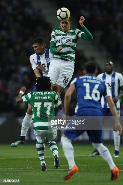 Sporting CP midfielder Rodrigo Battaglia from Argentina higher heads the ball during the FC Porto v Sporting CP Taca de Portugal Semi Final Leg One...