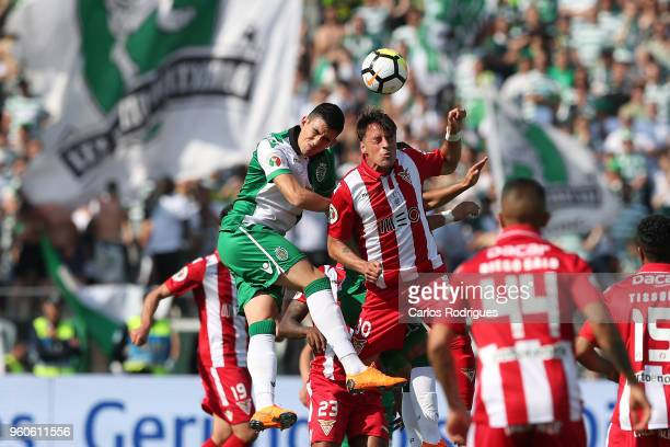 Sporting CP midfielder Rodrigo Battaglia from Argentina vies with CD Aves midfielder Vitor Gomes from Portugal for the ball possession during the...