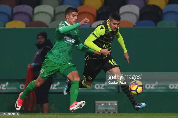 Sporting CP midfielder Rodrigo Battaglia from Argentina with Vilaverdense FC defender Pedro Lemos in action during the Portuguese Cup match between...