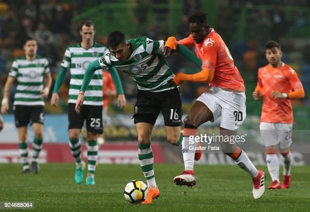 Sporting CP midfielder Rodrigo Battaglia from Argentina with Moreirense FC midfielder Alfa Semedo from Guinea Bissau in action during the Primeira...