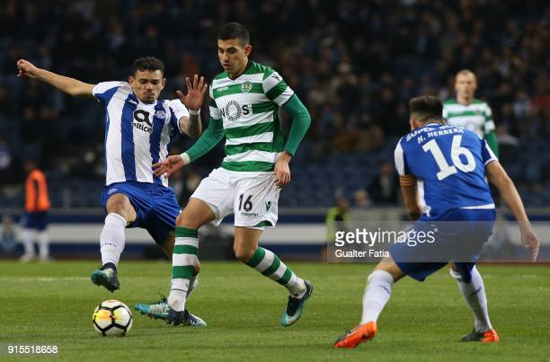 Sporting CP midfielder Rodrigo Battaglia from Argentina with FC Porto forward Tiquinho Soares from Brazil in action during the Portuguese Cup Semi...