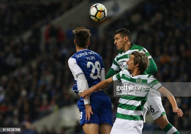 Sporting CP midfielder Rodrigo Battaglia from Argentina with FC Porto defender Felipe from Brazil and Sporting CP defender Fabio Coentrao from...