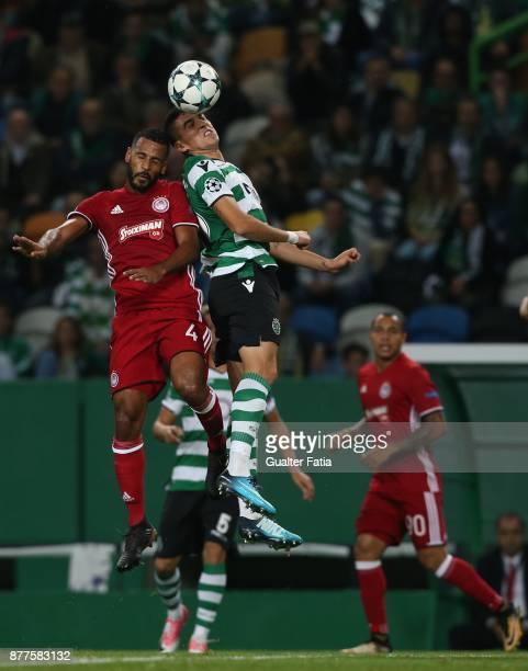 Sporting CP midfielder Rodrigo Battaglia from Argentina with Olympiakos Piraeus midfielder Alaixys Romao from Tongo in action during the UEFA...