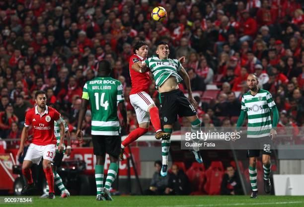 Sporting CP midfielder Rodrigo Battaglia from Argentina with SL Benfica midfielder Filip Krovinovic from Croatia in action during the Primeira Liga...