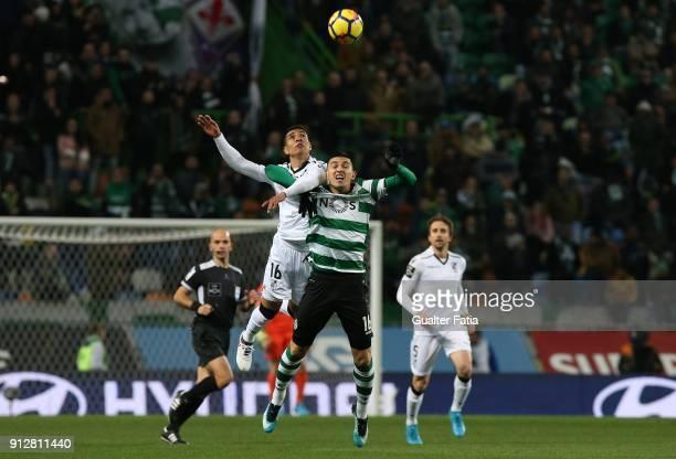 Sporting CP midfielder Rodrigo Battaglia from Argentina with Vitoria Guimaraes forward Paolo Hurtado from Peru in action during the Primeira Liga...