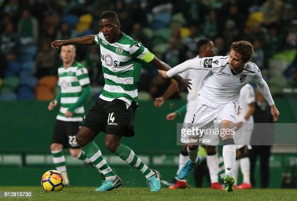 Sporting CP midfielder William Carvalho from Portugal with Vitoria Guimaraes midfielder Rafael Miranda from Brazil in action during the Primeira Liga...