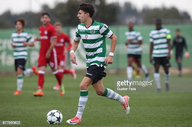 Sporting CP Nuno Moreira in action during the UEFA Youth League match between Sporting CP and Olympiakos Piraeus at CGD Stadium Aurelio Pereira on...