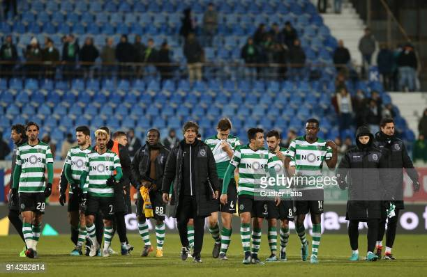 Sporting CP players and staff members at the end of the Primeira Liga match between GD Estoril Praia and Sporting CP at Estadio Antonio Coimbra da...