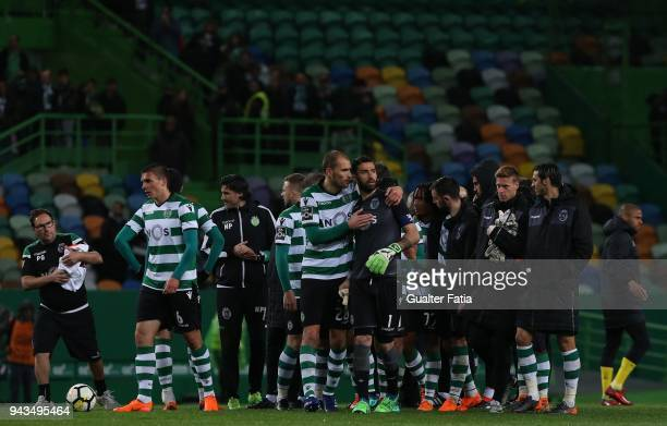 Sporting CP players celebrate the victory at the end of the Primeira Liga match between Sporting CP and FC Pacos de Ferreira at Estadio Jose Alvalade...