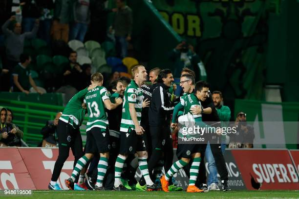Sporting CP players celebrating after wining the match during the Sporting CP v FC Porto Portuguese Cup semi finals 2 leg at Estadio Jose Alvalade on...