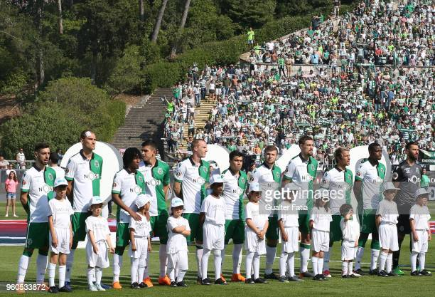 Sporting CP players lined up before the start of the Portuguese Cup Final match between Sporting CP and CD Aves at Estadio Nacional on May 20 2018 in...