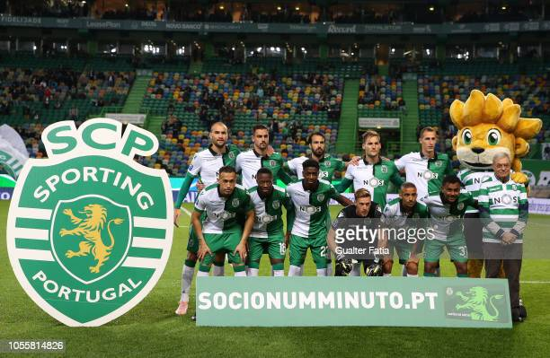 Sporting CP players pose for a team photo before the start of the Portuguese League Cup match between Sporting CP and GD Estoril Praia at Estadio...