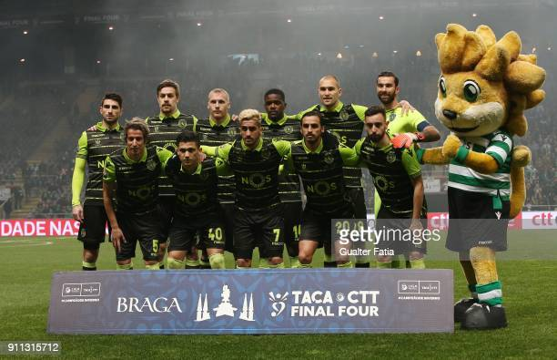Sporting CP players pose for a team photo before the start of the Portuguese League Cup Final match between Vitoria de Setubal and Sporting CP at...