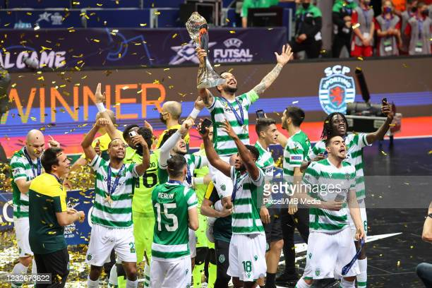 Sporting CP players poses with their medals after winning the UEFA Futsal Champions League against Barca at SC Visnjik - Kresimir Cosic Hall on May...