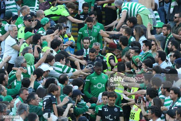 Sporting CP players with supporters at the end of the Portuguese Cup Final match between Sporting CP and CD Aves at Estadio Nacional on May 20 2018...