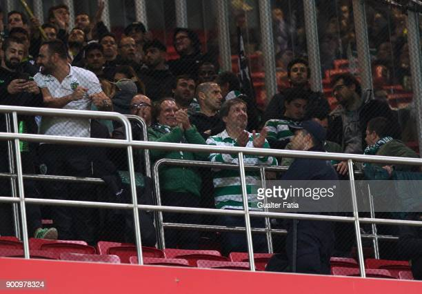 Sporting CP president Bruno de Carvalho with supporters before the start of the Primeira Liga match between SL Benfica and Sporting CP at Estadio da...