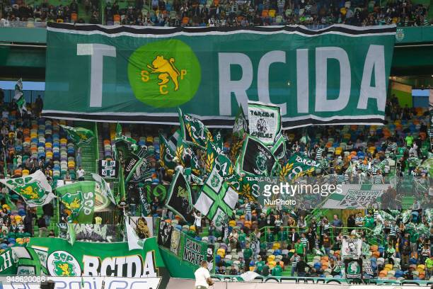 Sporting CP supporters during the Sporting CP v FC Porto Portuguese Cup semi finals 2 leg at Estadio Jose Alvalade on April 18 2018 in Lisbon Portugal