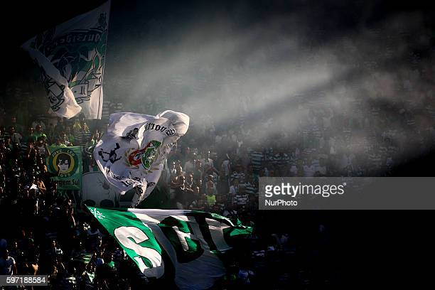 Sporting CP supporters waving a flag during the Portuguese League football match between Sporting CP and FC Porto at Jose Alvalade Stadium in Lisbon...