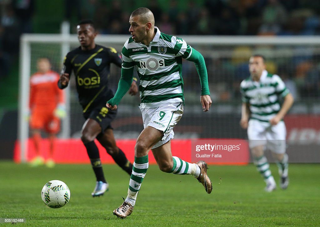 Sporting CP's argelian forward Islam Slimani in action during the Primeira Liga match between Sporting CP and CD Tondela at Estadio Jose Alvalade on January 15, 2016 in Lisbon, Portugal.