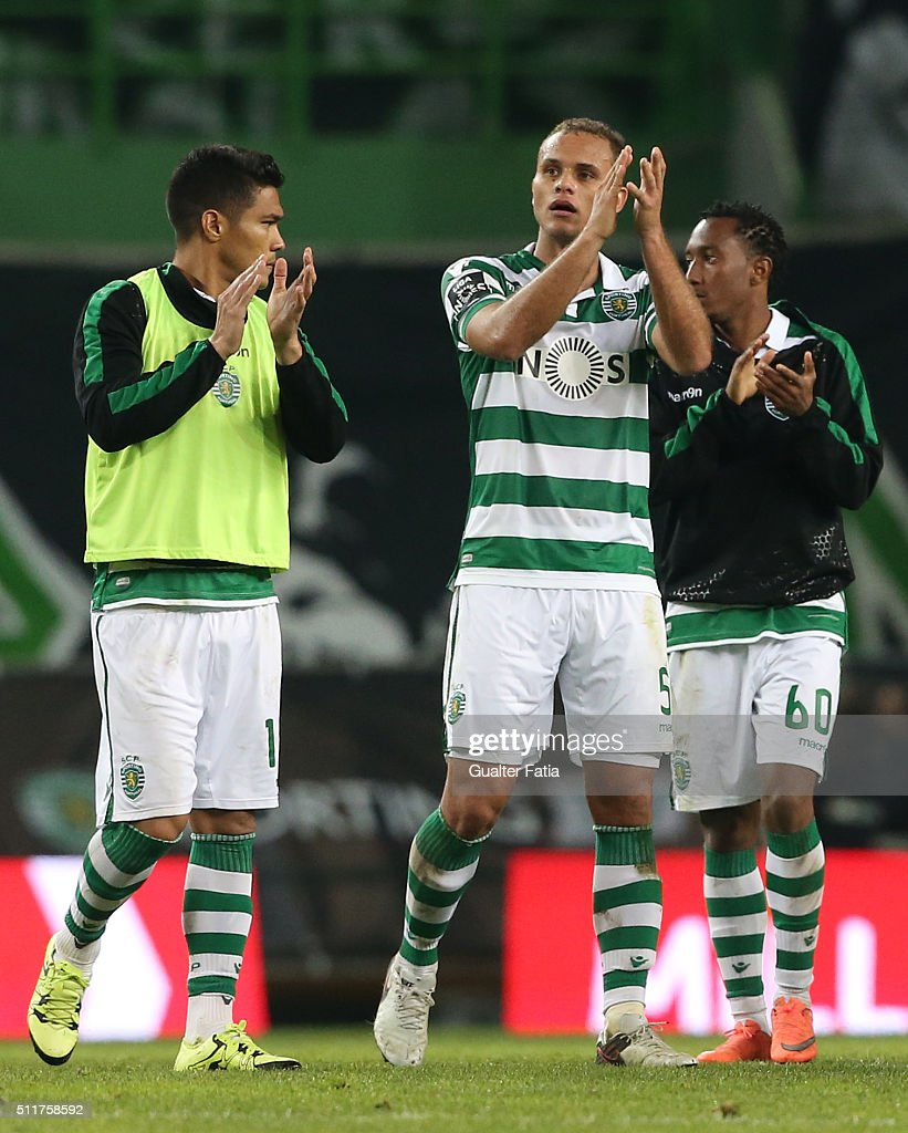 Sporting CP's defender Ewerton from Brazil (C) celebrates the victory with teammates at the end of the Primeira Liga match between Sporting CP and Boavista at Estadio Jose Alvalade on February 22, 2016 in Lisbon, Portugal.