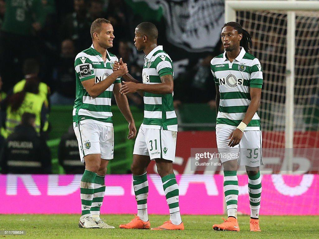 Sporting CP's defender Ewerton from Brazil (L) celebrates the victory with teammates at the end of the Primeira Liga match between Sporting CP and Boavista at Estadio Jose Alvalade on February 22, 2016 in Lisbon, Portugal.