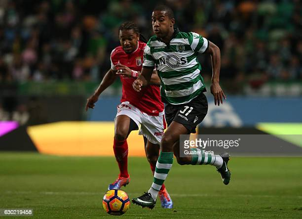 Sporting CP's defender Marvin Zeegelaar from Holland with Braga's forward Alan from Brazil in action during the Primeira Liga match between Sporting...