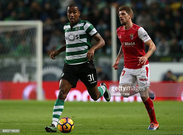 Sporting CP's defender Marvin Zeegelaar from Holland with Braga's midfielder Xeka from Portugal in action during the Primeira Liga match between...