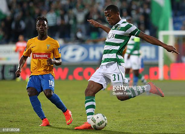 Sporting CPÕs defender Marvin Zeegelaar from Holland with GD Estoril PraiaÕs forward Gerso Fernandes in action during the Primeira Liga match between...
