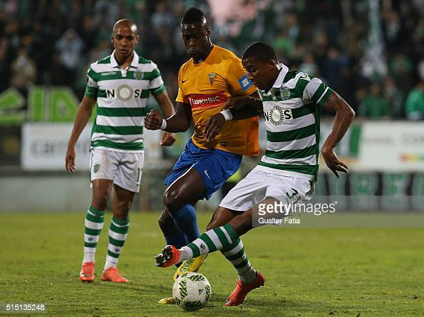Sporting CPÕs defender Marvin Zeegelaar from Holland with GD Estoril PraiaÕs forward Frederic Mendy in action during the Primeira Liga match between...