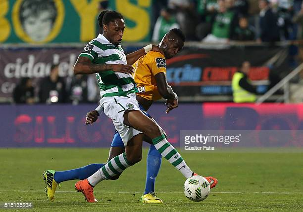 Sporting CPÕs defender Ruben Semedo with GD Estoril PraiaÕs forward Frederic Mendy in action during the Primeira Liga match between GD Estoril Praia...
